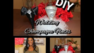 DIY Wedding Champagne Flutes| Luxury Bridal Design| How to make custom toasting glasses