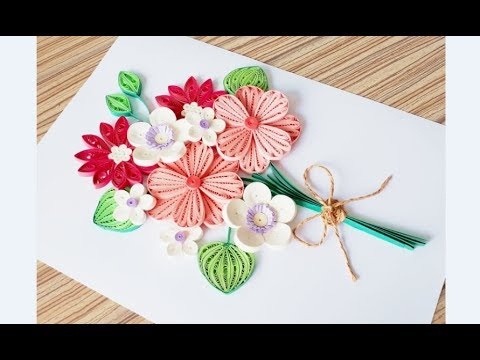 DIY Paper quilling Flower Card Design 34 // Quilling flower card // Greeting Card