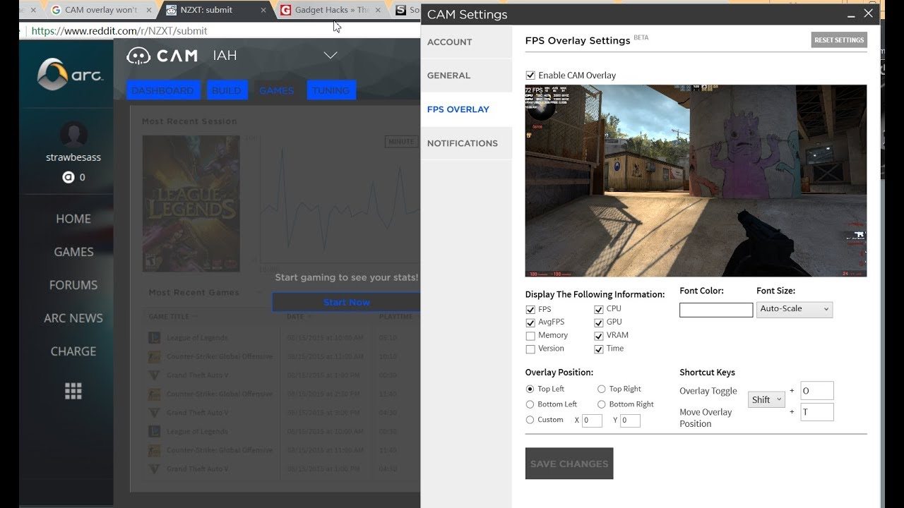 Howto display NZXT CAM FPS Overlay