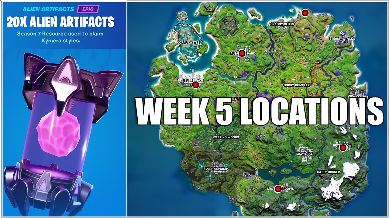 Fortnite, Where Are The Week 5 Alien Artifacts? (Chapter 2 Season 7)