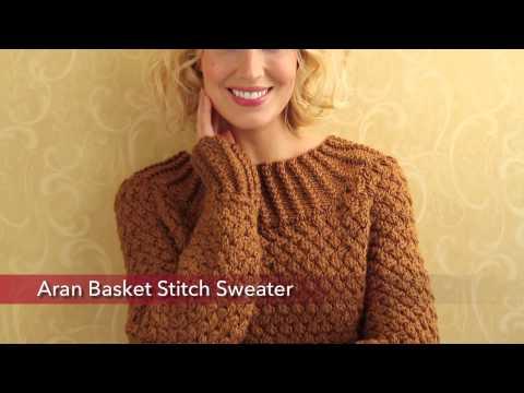 Red Heart Aran Basket Stitch Sweater