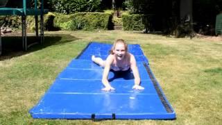 Slip and slide Gymnastics challenge