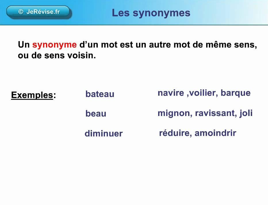 Les synonymes ou mots de mme sens Leon de vocabulaire pour le CE1 CE2 CM1 CM2  YouTube