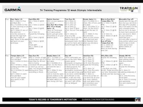 triathlon training programme 12 week olympic intermediate