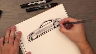 BiC pen + Marker sketching the Nissan 350Z