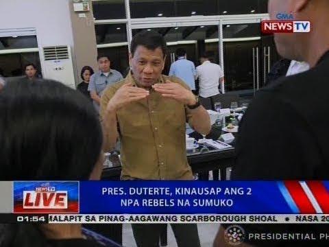 NTVL: Pres. Duterte, kinausap ang 2 NPA rebels na sumuko