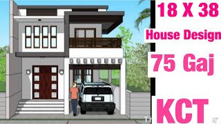 18 x38 , 5m x 11m , House Design , Plan Map , 1BHK , 75  GAJ GHAR KA AKSHA ,  INTERIOR AND 3D VIEW