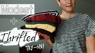 THRIFTED CLOTHING HAUL AND TRY ON! | MODEST WOMEN'S CLOTHES
