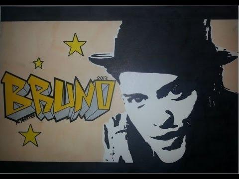 Bruno Mars Graffiti Letters & Stencil Drawing - Bruno