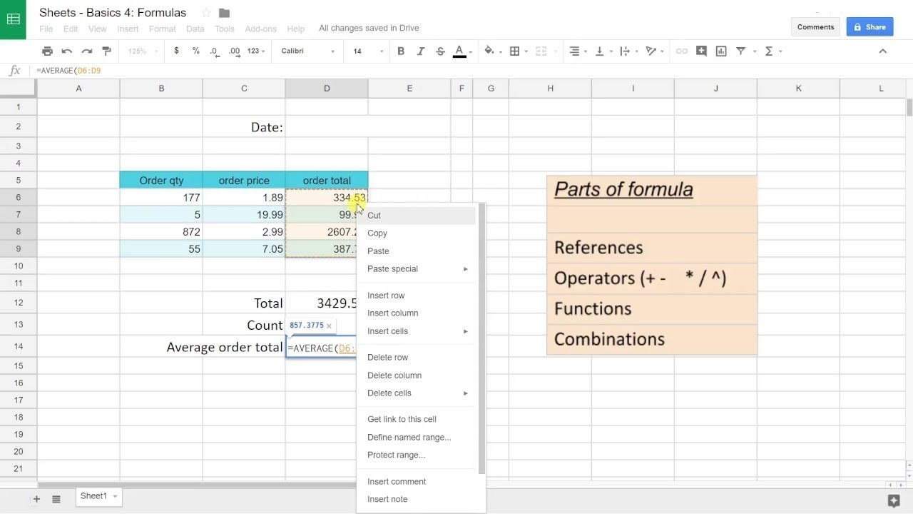 Google Sheets Basics #4 - Create Formulas