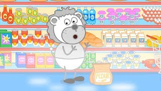 Lion Family Flour Products Shopping Cartoon for Kids