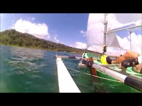 home made sailing kayak in arenal lake costarica