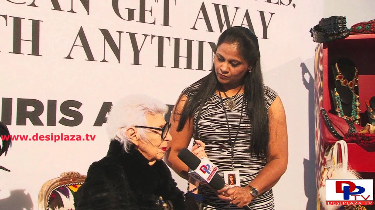 Iris Apfel, retired businesswoman and Fashion Icon speaking to Desiplaza TV