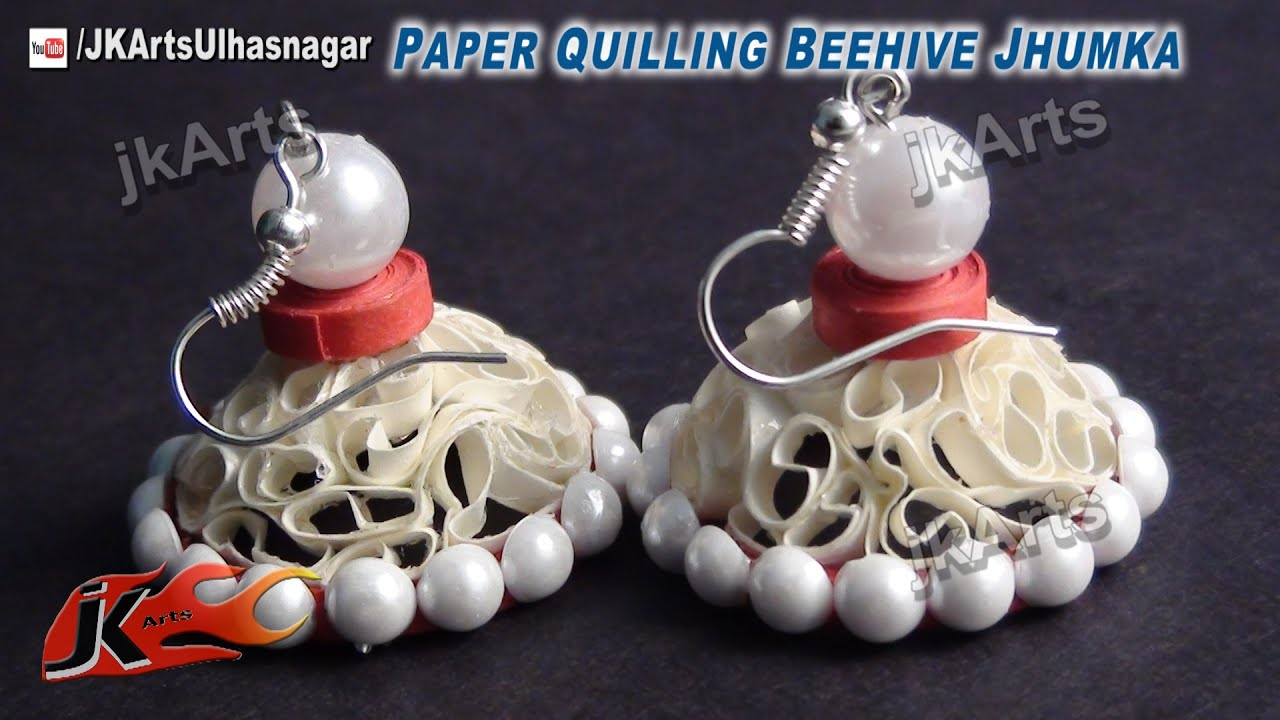 DIY Beehive Paper Quilling Jewelry Jhumka How to make JK Arts