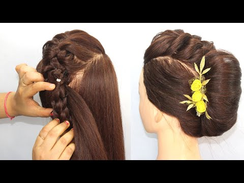 beautiful-french-roll-hairstye-for-durga-puja-|-festival-hiarstyle-|-very-easy-haisrtyle-#hairstyles