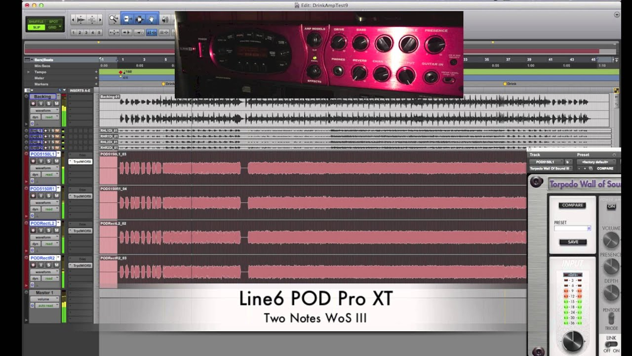 Line6 POD Pro XT through Two Notes WoS (modern metal sounds)