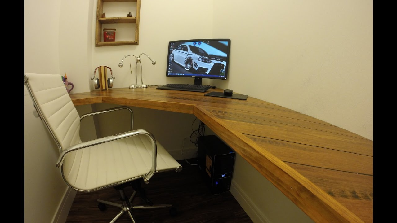 Floating Corner Desk with Bamboo Flooring Top