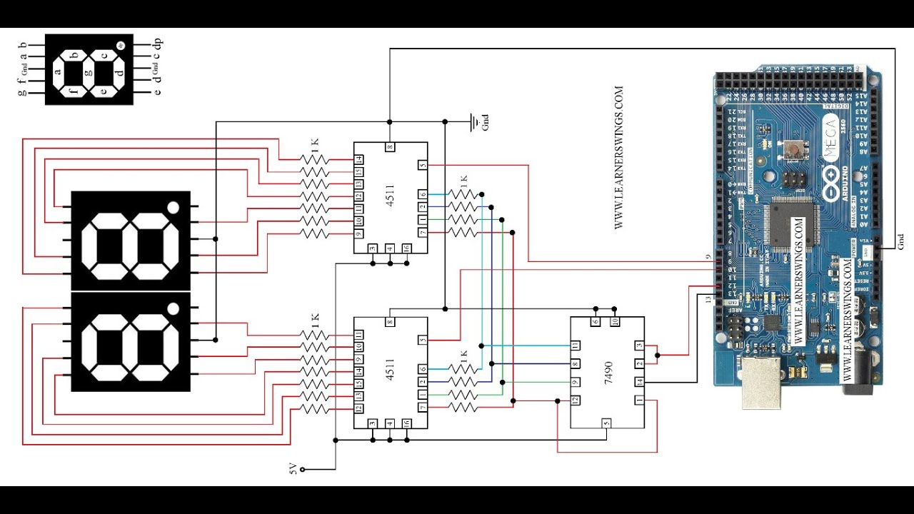 circuit diagram to control 2 seven segment displays using arduino mega 7490 and 4511 [ 1280 x 720 Pixel ]