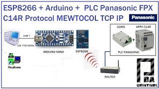 ESP8266 +  Arduino + PLC Panasonic FPX C14 + COM5  Protocol MEWTOCOL TCP IP :PDA_Control