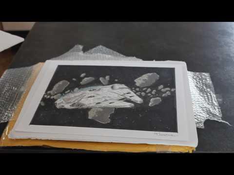 Millennium Falcon Artwork by Joe Johnston  Unboxing