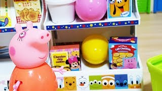 Baby doll Disney convenience store Peppa Pig shopping food and drink and surprise eggs toys play #3
