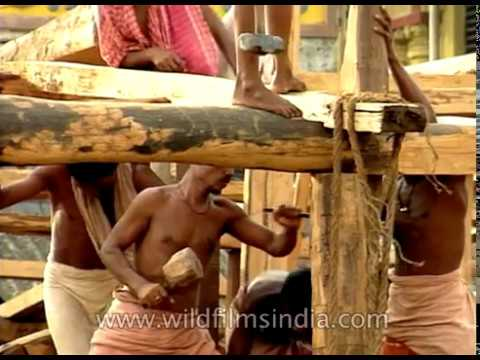 Puri Rath Yatra Carriage Being Made In 1990's Orissa