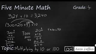4th Grade Math Multiplying by 10 or 100