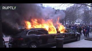 Противники Трампа сожгли лимузин во время протестов в Вашингтоне