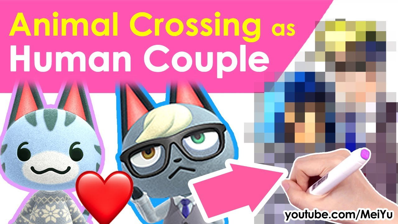 Draw Animal Crossing as Cute HUMAN Couple | Art Challenge | Coloring Art Book Unbox Mei Yu Fun2draw