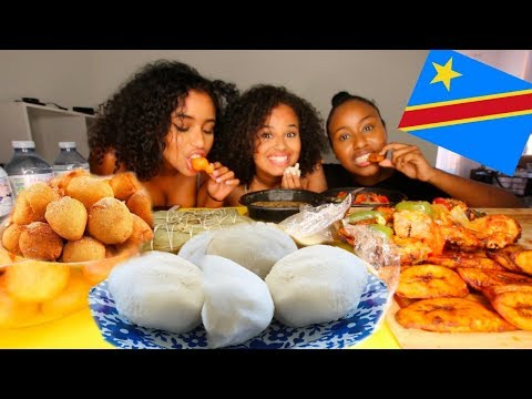 AFRICAN FOOD (CONGOLESE) MUKBANG | FIRST TIME TRYING FUFU! | Osh and Akela