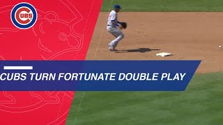 Baez, Cubs benefit from lucky bounce on double play