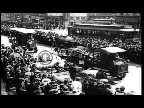 World War I military equipment and troops parade during Liberty Bond Drive in Ric...HD Stock Footage