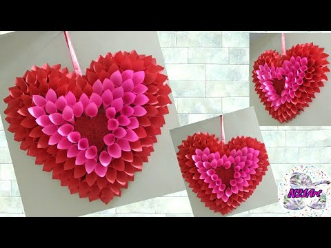 DIY : Paper Craft Ideas | Wall decoration | Simple Home Decor | DIY : Heart Shape Wall Hanging