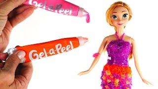 DIY Princess Anna Gel-a-Peel Dress | How To Make Disney Frozen Doll Clothes using Gel a Peel