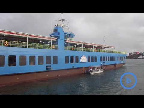 MV Jambo ferry commissioned making its maiden trip across the channel with passengers
