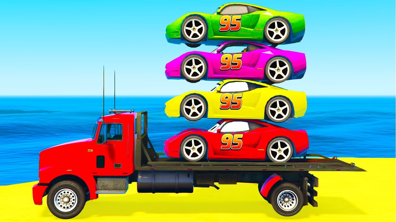 Colour cars rhymes - Color Mcqueen Cars On Truck And Spiderman Kids Cartoon With Colors For Toddlers Nursery Rhymes Youtube
