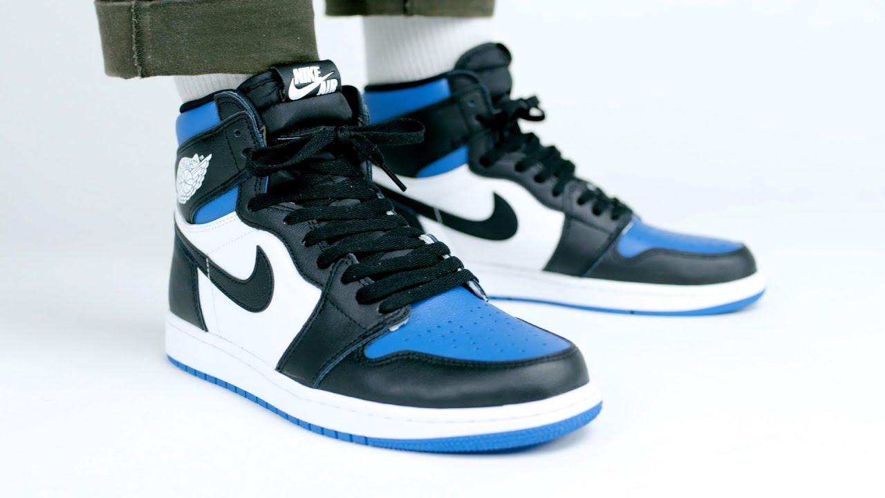 Air Jordan 1 Retro High Og Royal Toe On Feet Look Youtube