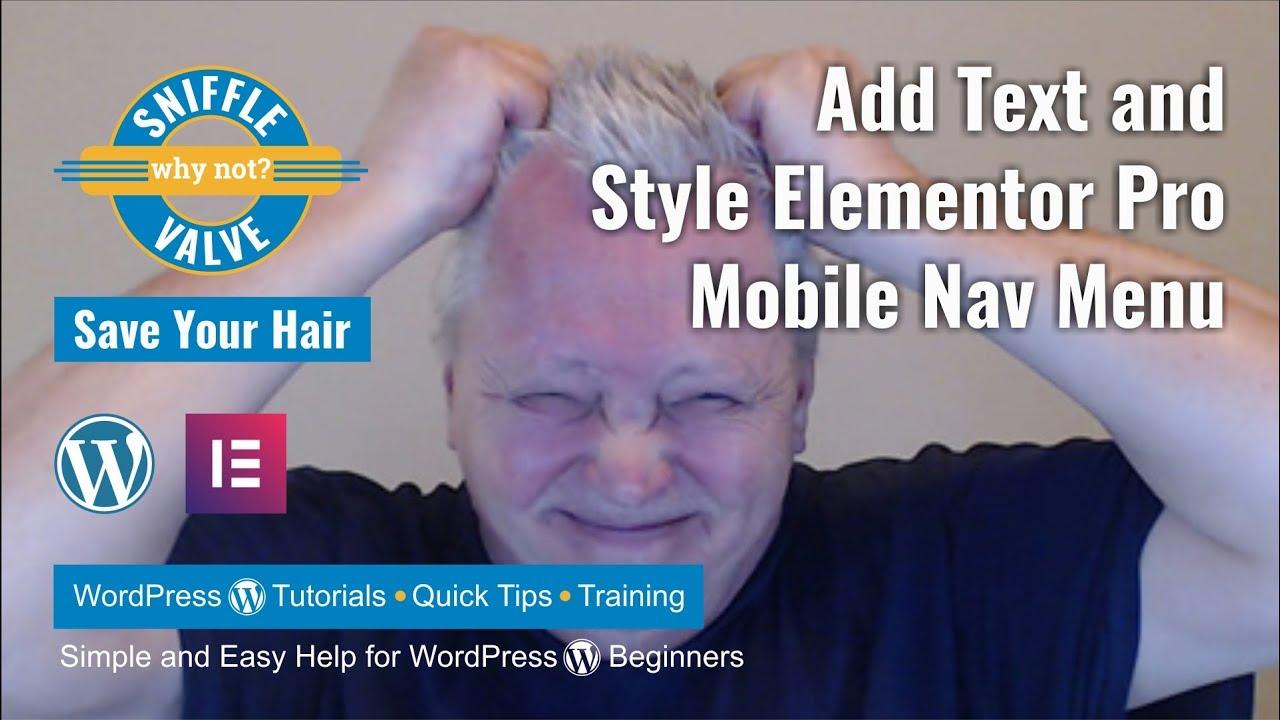Elementor Pro - Mobile Nav Menu Styling - Sniffle Valve