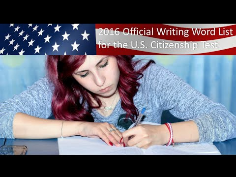 2016 OFFICIAL US CITIZENSHIP WRITING VOCABULARY WORDS AND PRACTICE SENTENCES