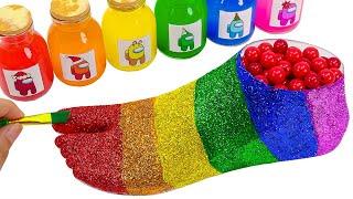 Satisfying Asmr l How To Make Rainbow Foot Beads With Glitter Cutting ASMR #223 Bon Bon