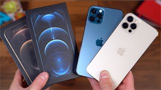 Apple iPhone 12 Pro Unboxing: Gold vs Pacific Blue!