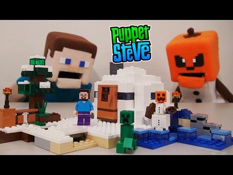 minecraft-lego-the-snow-hideout-golem-set-2017-building-toy-21120-unboxing-review-puppet-steve
