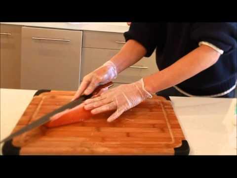 Professional Japanese Chef Preparing Sashimi