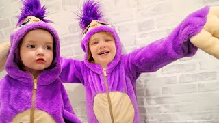 2 PURPLE SLOTH KiDS!!  come play our Animal Game! Dance Party with Niko \u0026 Fifi our new pretend pet!