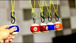 Make a Newton's Cradle from Pool Table Balls!