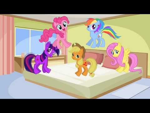 5 Little Pony Jumping On The Bed MLP | Nursery Rhymes For Kids