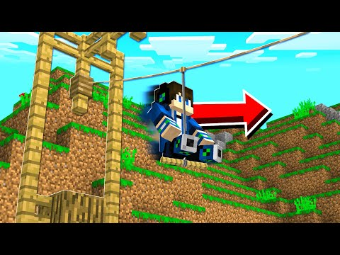How to Build a WORKING ZIPLINE in Minecraft Tutorial! (NO MO
