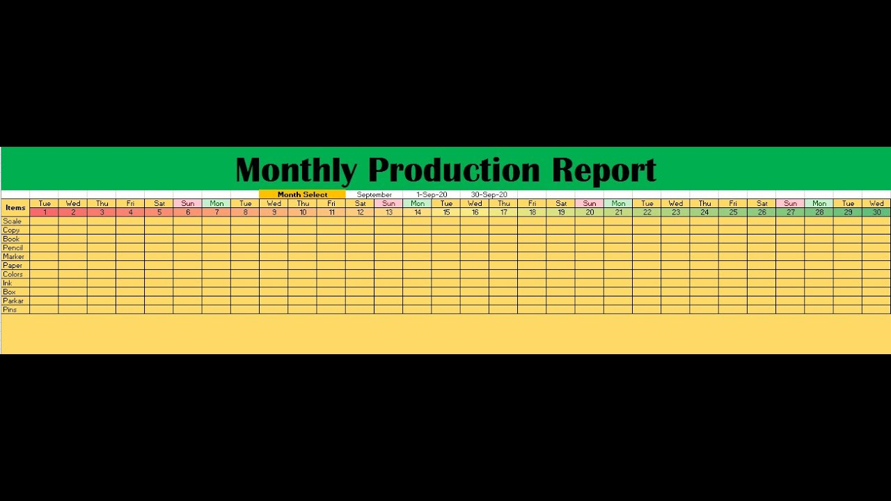 For example, if i were the production line leader in the manufacturing industry, and my monthly. Monthly Production Report In Excel Youtube