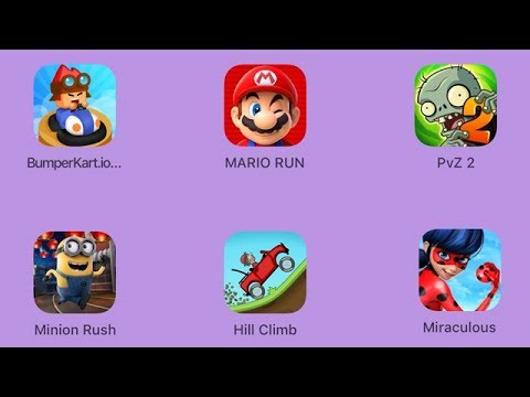 BumperKart.io, Super Mario Run, Plants vs Zombies 2, Minion Rush, Hill Climb, Miraculous [iOS] - 동영상