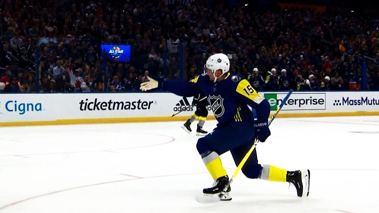 best loved ba56a fb51a Gotta See It: Eichel celebrates with Matthews' 'good goal' point at  All-Star Game